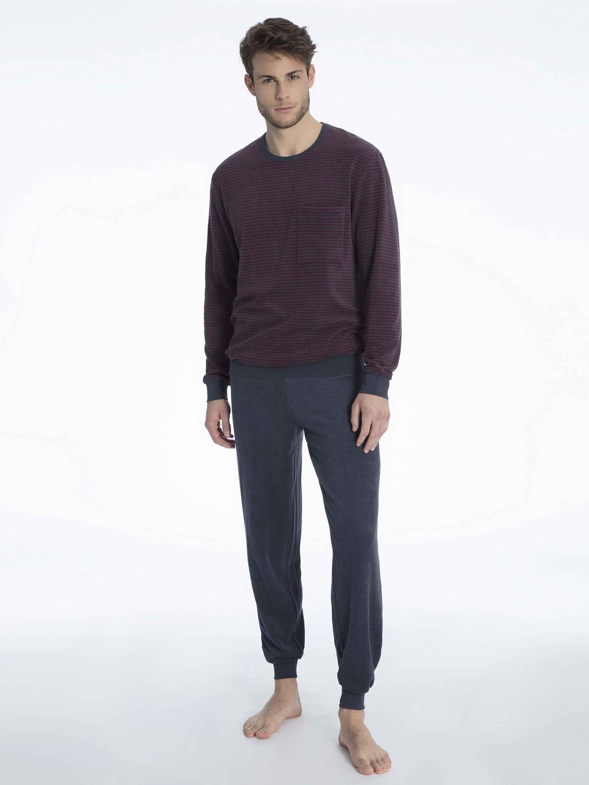 Herren CALIDA Troy Bündchen-Pyjama aus Frottee rot   07613381048153