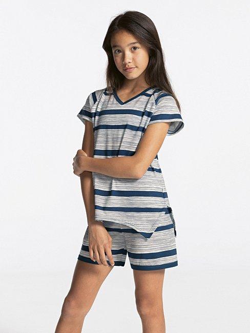CALIDA Girls Stripes Mädchen Kurz-Pyjama