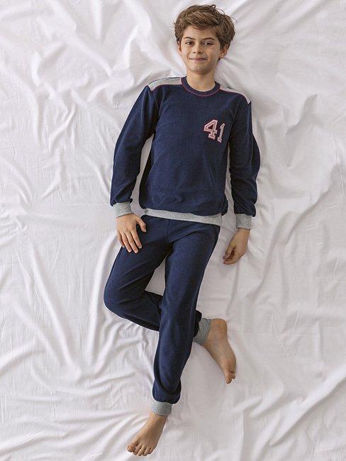 CALIDA Cool College Jungen-Frotteepyjama mit Bündchen