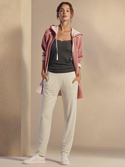 CALIDA Favourites Trend 5 Fleece Kapuzen-Jacke mit Reissverschluss