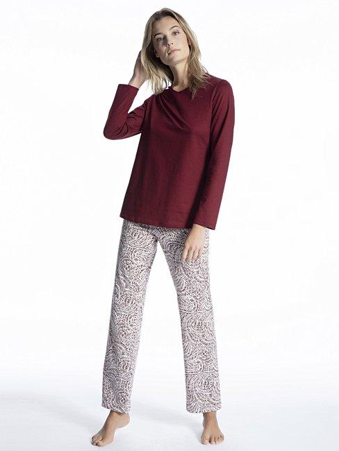 CALIDA Cosy Cotton Trend Pyjama mit schmal zulaufender Hose