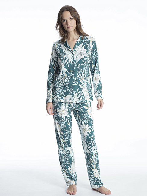 CALIDA Cosy Tropics Pyjama, durchgeknöpft