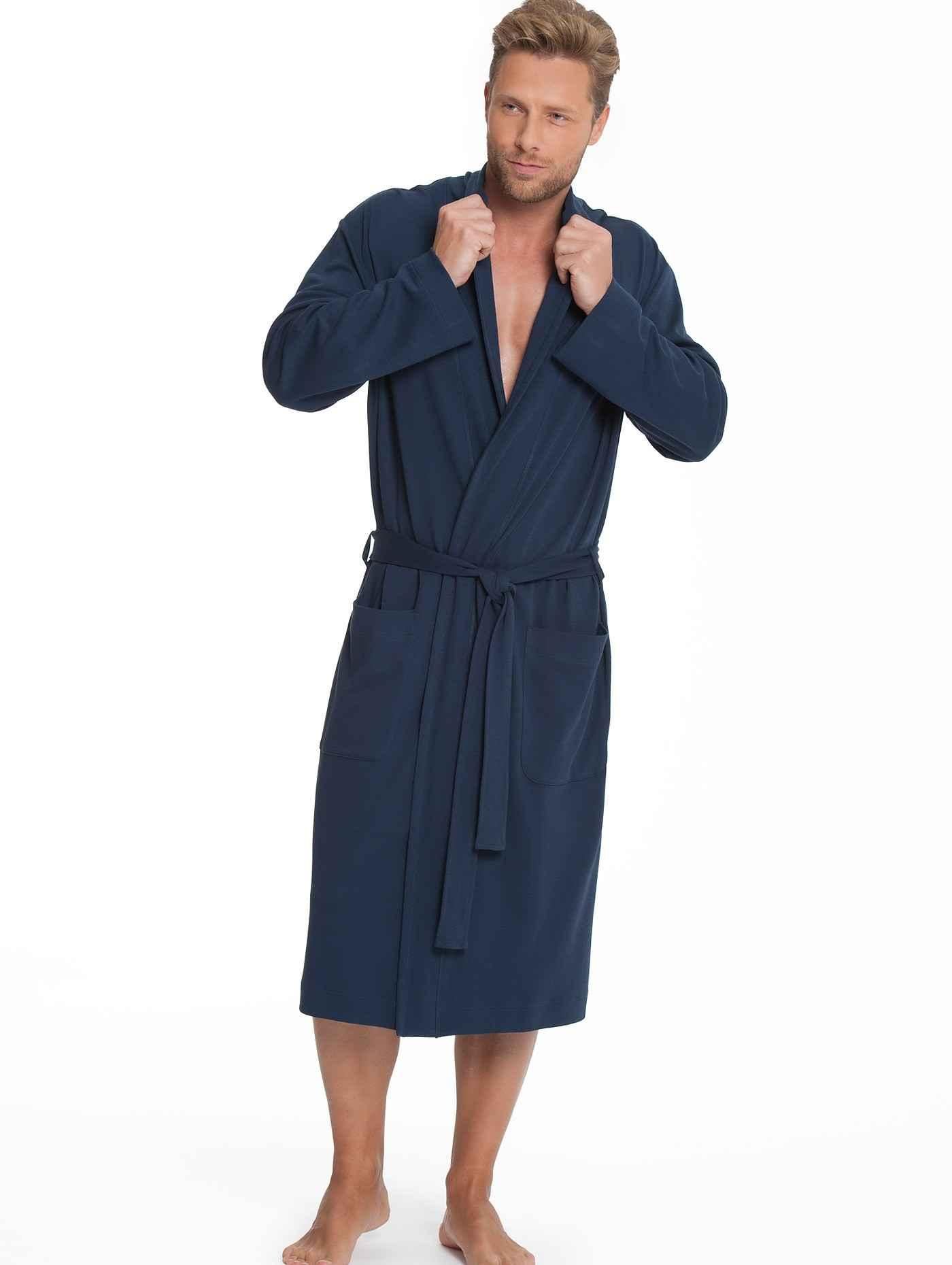 Herren CALIDA Remix Basic Jersey-Bademantel blau | 07613306502302