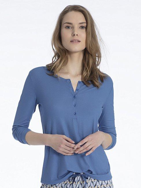 CALIDA Favourites Trend 3 Langarm-Shirt mit Knopfleiste, Feinripp