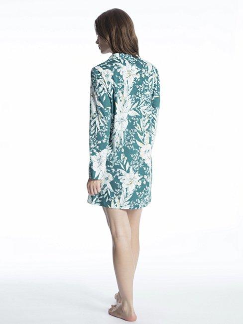 CALIDA Cosy Tropics Sleepshirt, durchgeknöpft Länge 85cm