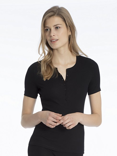 CALIDA Mood Shirt Kurzarm mit Knopfleiste
