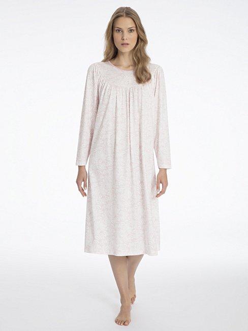 calida soft cotton klassisches langarm nachtkleid rosa calida online shop. Black Bedroom Furniture Sets. Home Design Ideas