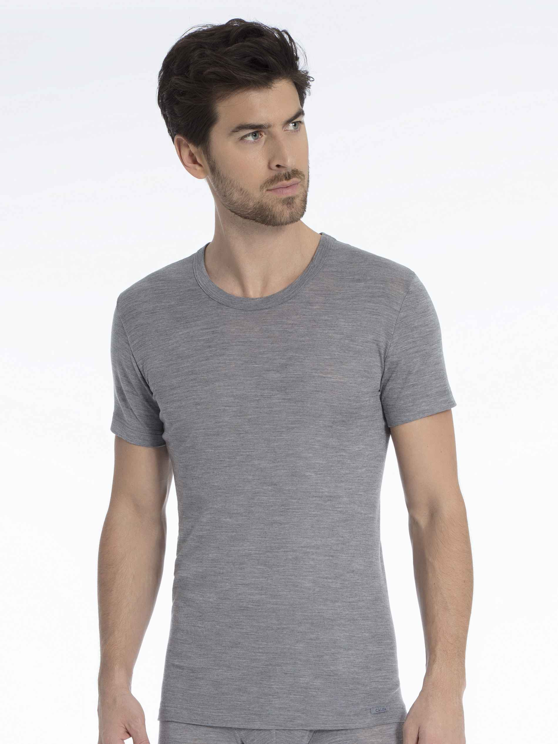 Herren CALIDA Wool & Silk Shirt aus Wolle und Seide grau   07613306420378