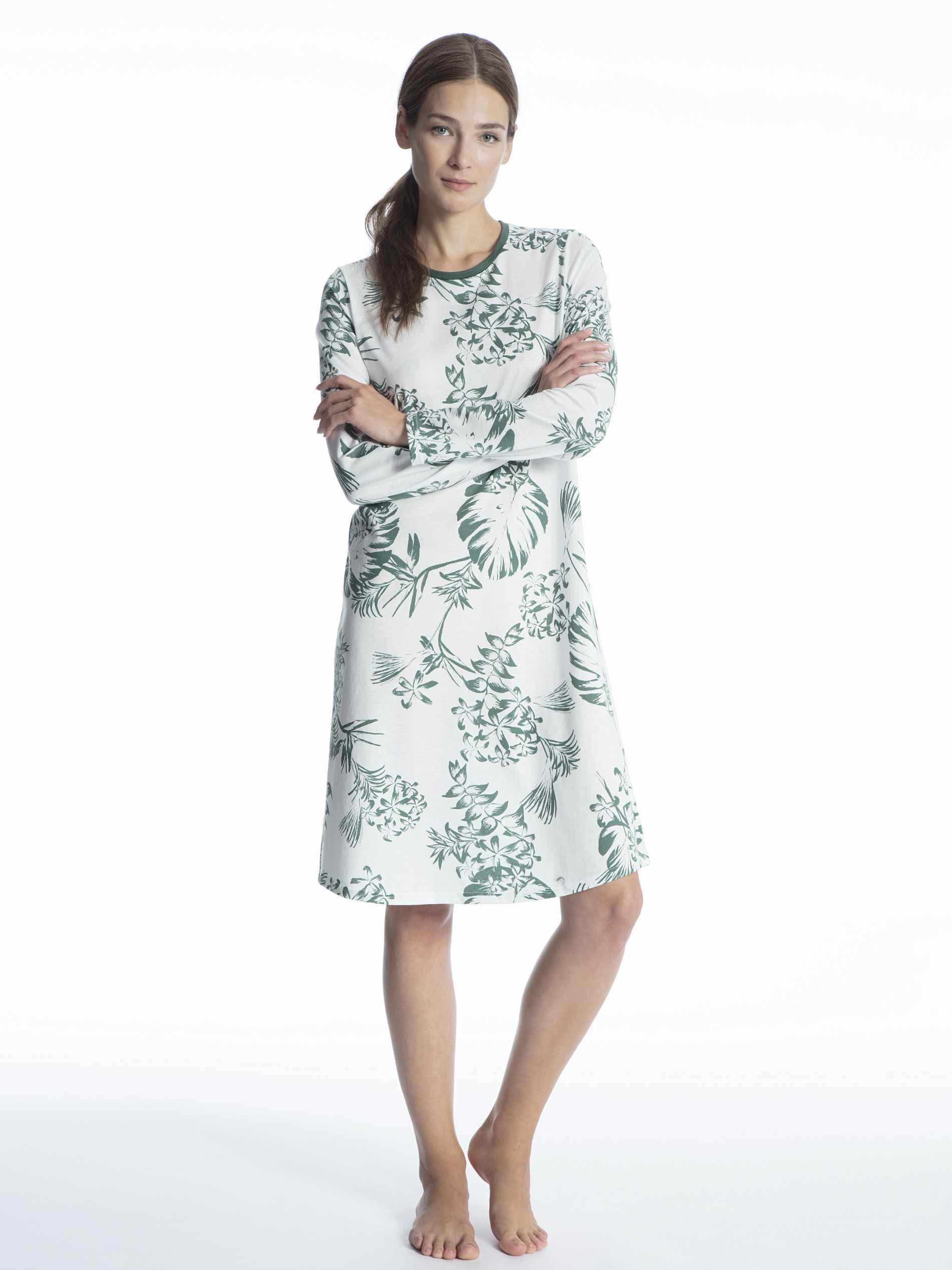 Damen CALIDA Soft Jersey Fun Nachtkleid Länge 100cm grün | 07613381081884
