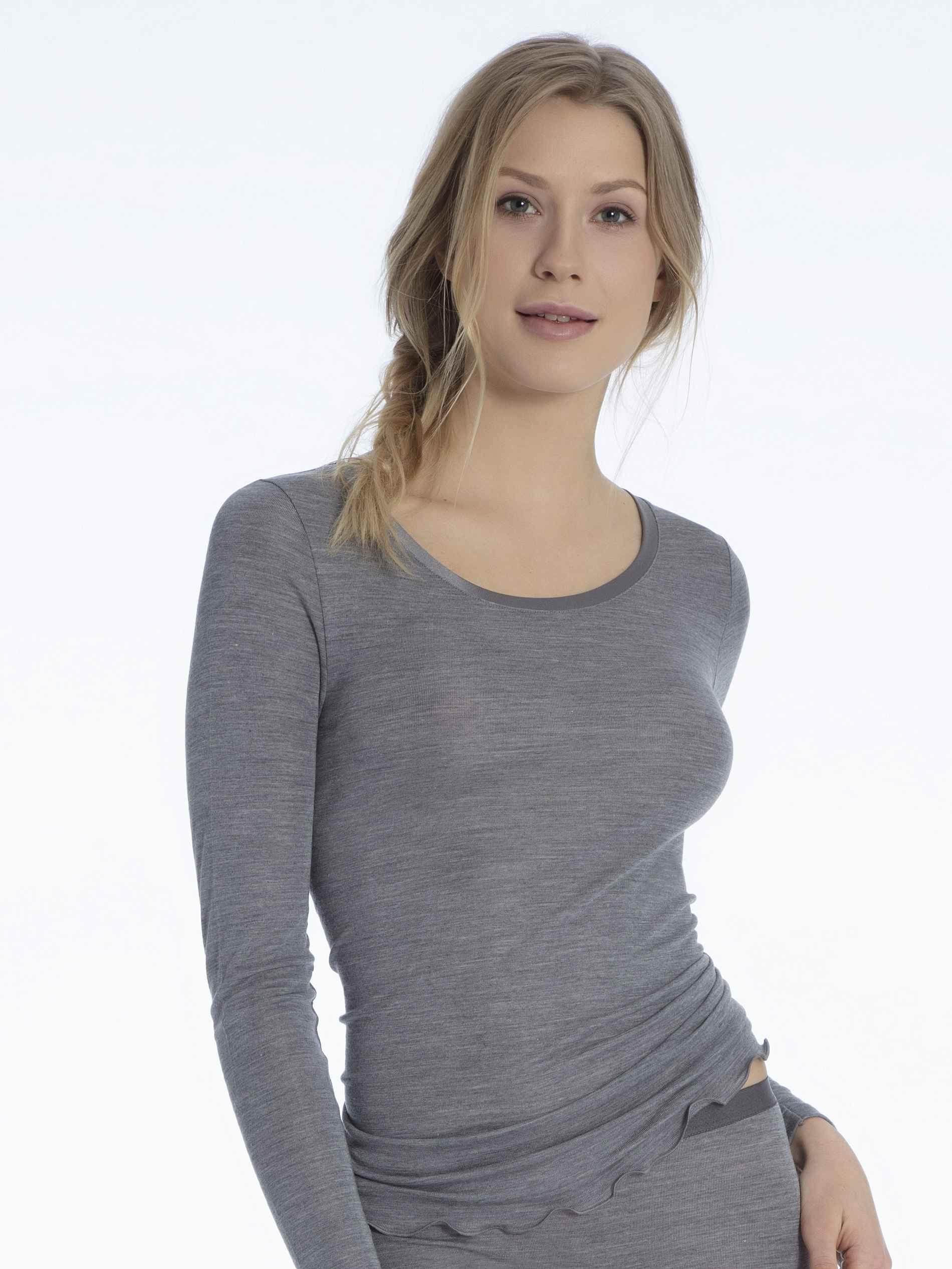 Damen CALIDA True Confidence Langarm-Shirt aus Wolle-Seide grau | 07613306584964