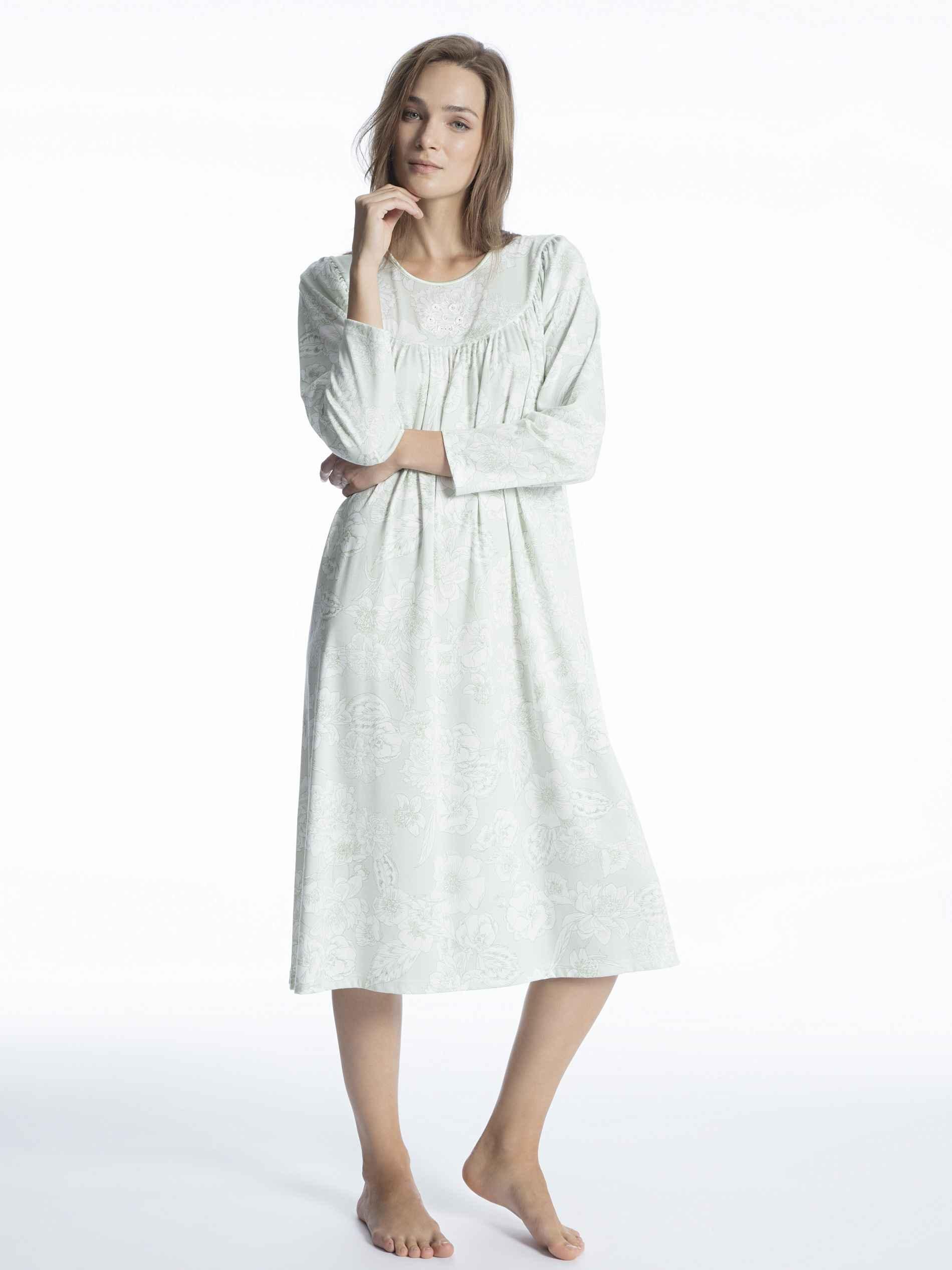Damen CALIDA Soft Cotton Nachtkleid Langarm Länge 110cm grün | 07613381083710