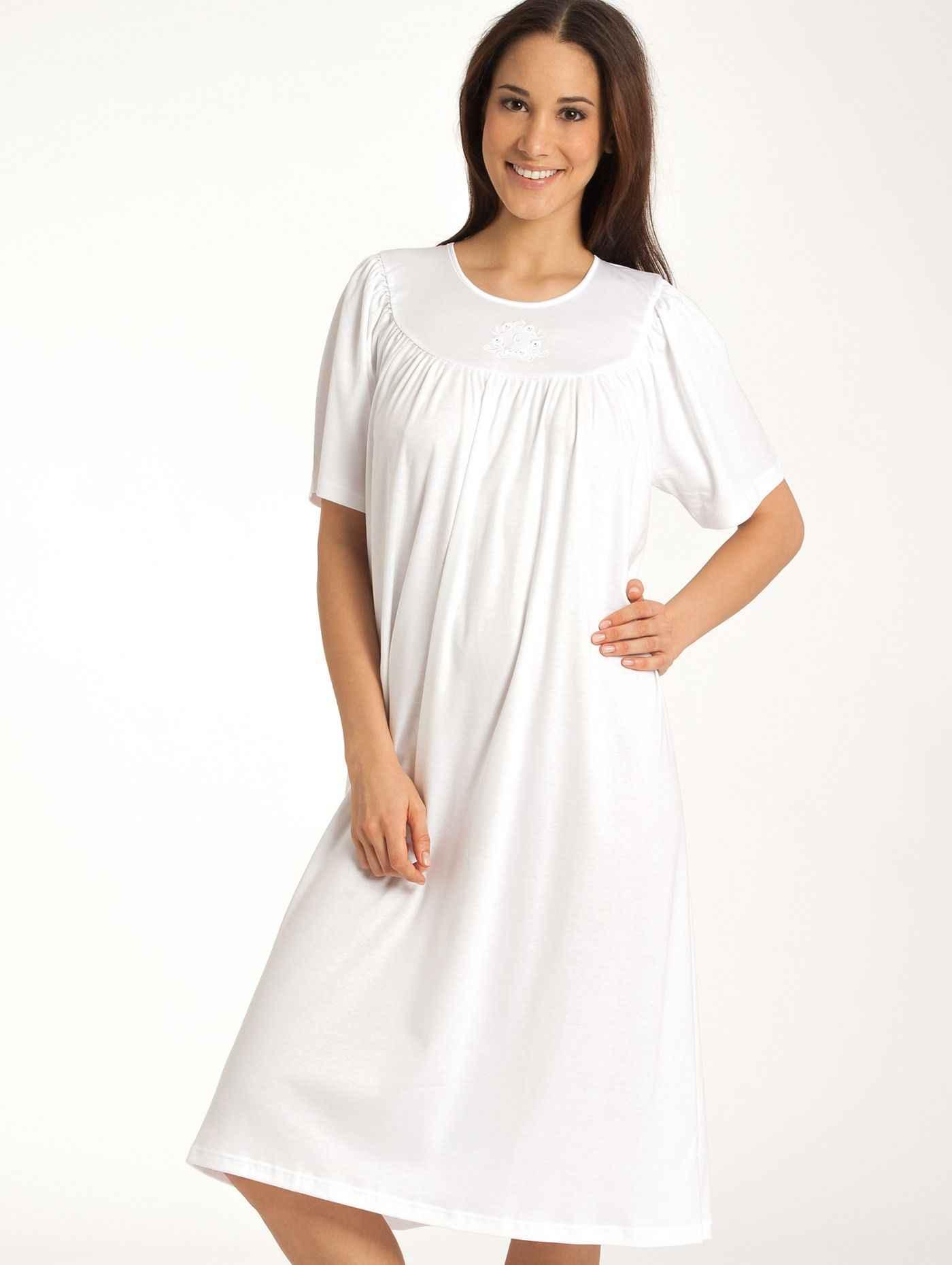 Damen CALIDA Soft Cotton Nightshirt kurzarm weiß | 07610441107638