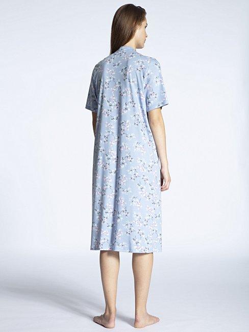 CALIDA Soft Cotton Kurzarm-Nachthemd mit Stehkragen, Länge 110cm