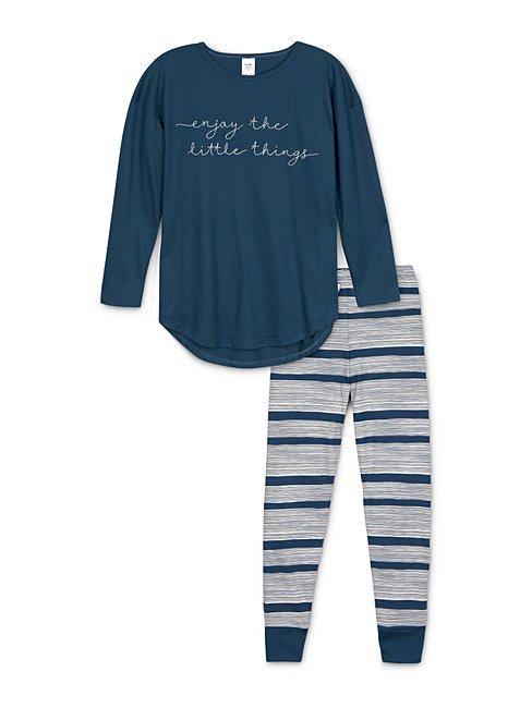 CALIDA Girls Stripes Mädchen Schlafanzug mit Bündchen