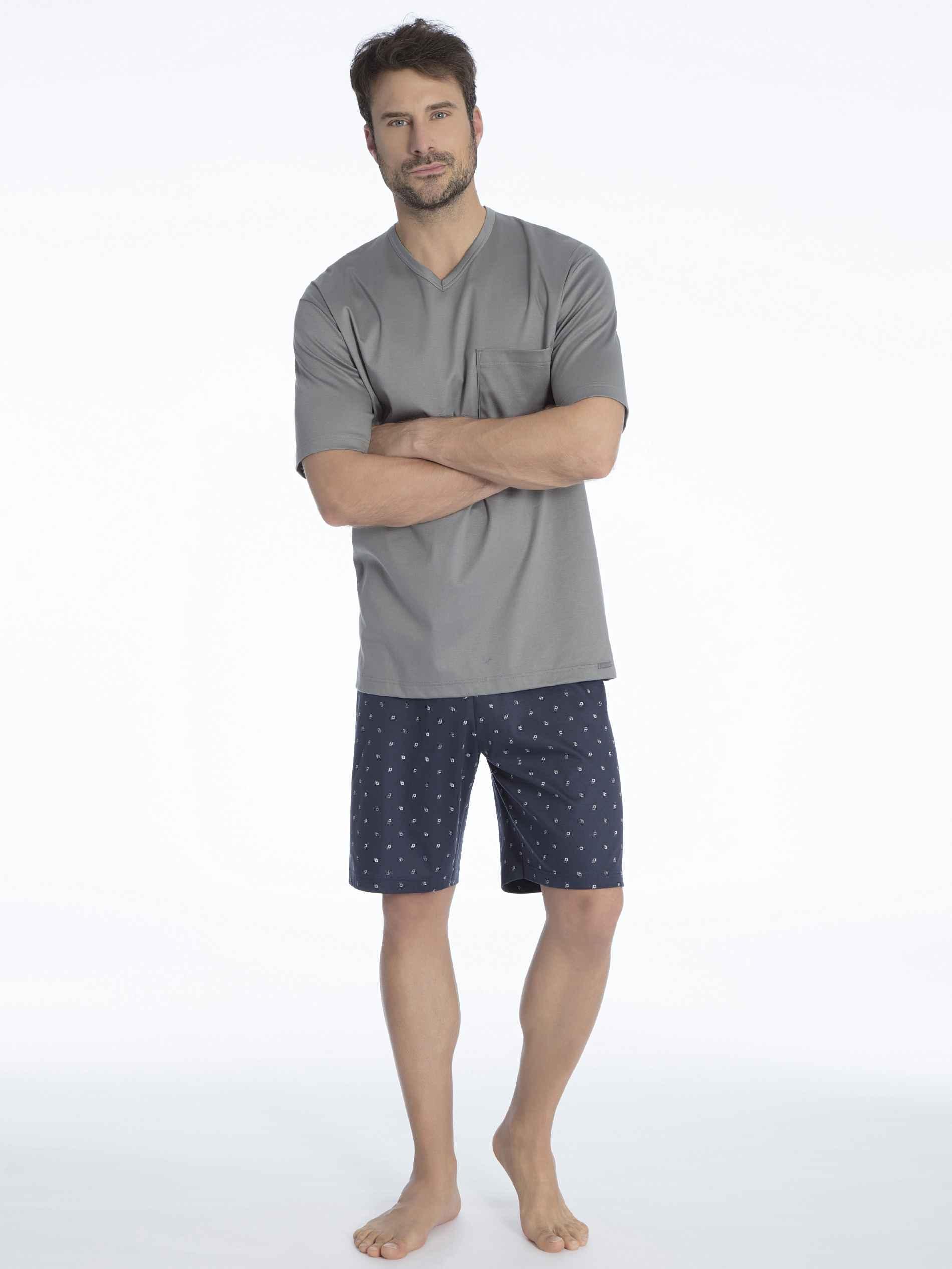 Herren CALIDA Travis Kurz-Pyjama grau   07613381058367