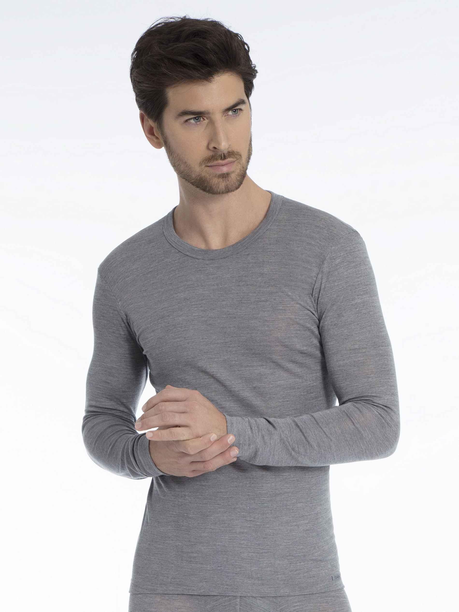 Herren CALIDA Wool & Silk Langarm-Shirt aus Wolle und Seide grau   07613306421702