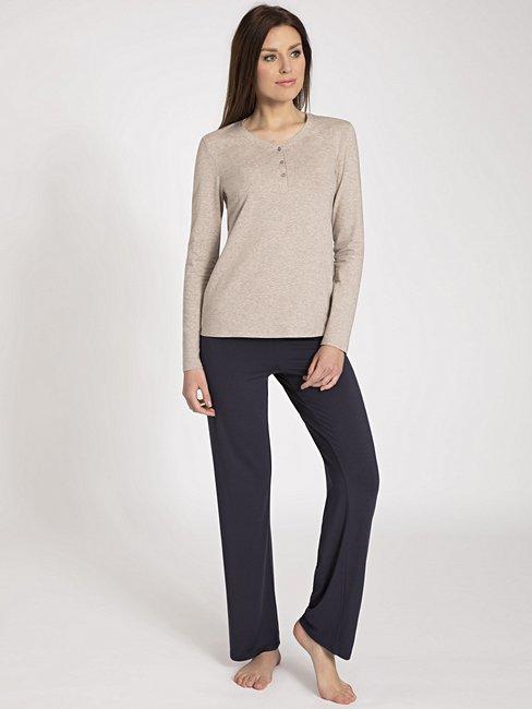 CALIDA Favourites Trend 3 Langarm-Shirt mit Knopfleiste