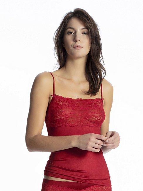 CALIDA Sensual Secrets Spaghetti-Top mit breitem Spitzensaum