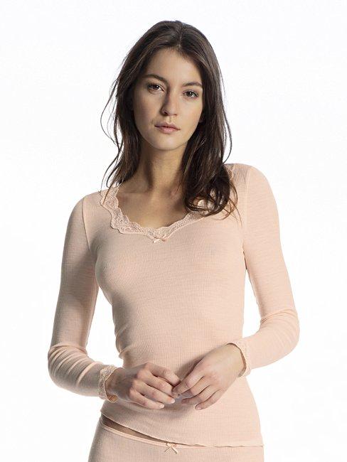 CALIDA Richesse Lace Shirt Langarm aus Wolle-Seide