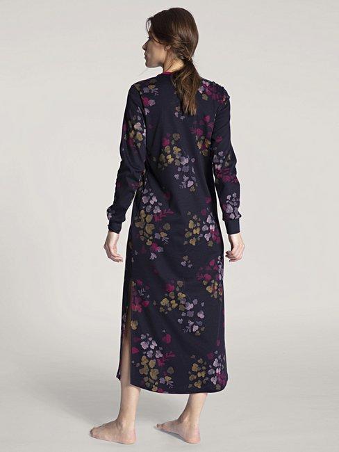 CALIDA Midnight Flowers Langarm-Nachthemd, 130cm lang