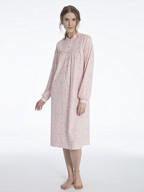 CALIDA Soft Cotton Langarm-Nachtkleid mit Knopfleiste, Länge 110cm