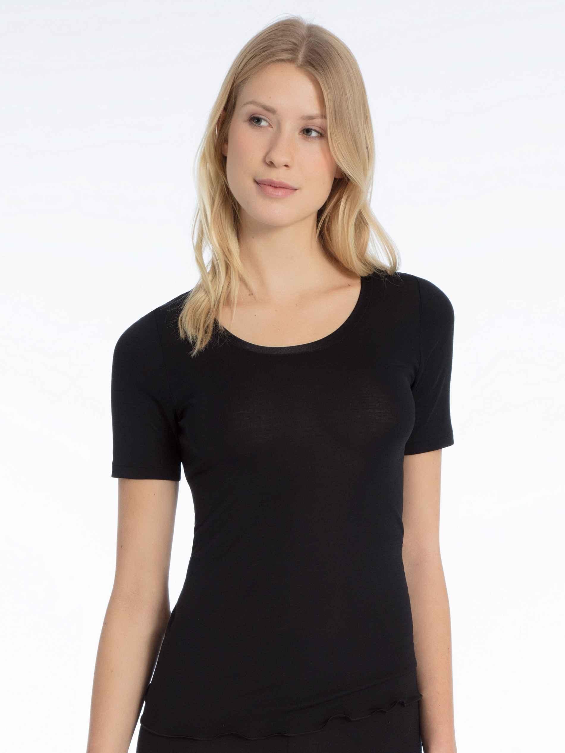 Damen CALIDA True Confidence Kurzarm-Shirt aus Wolle-Seide schwarz | 07613306584919