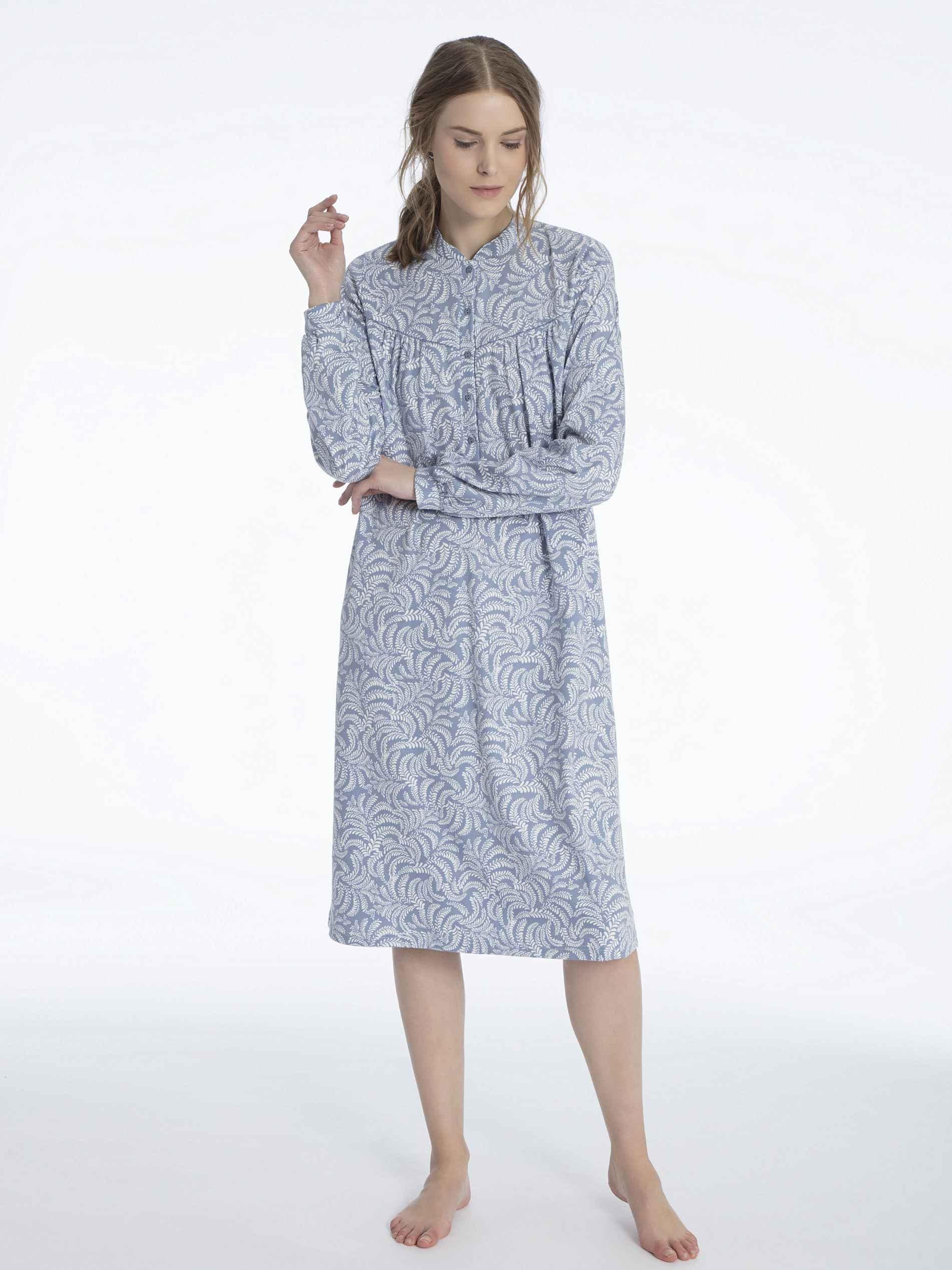 Damen CALIDA Soft Cotton Langarm-Nachtkleid mit Knopfleiste Länge 110cm blau | 07613381038376