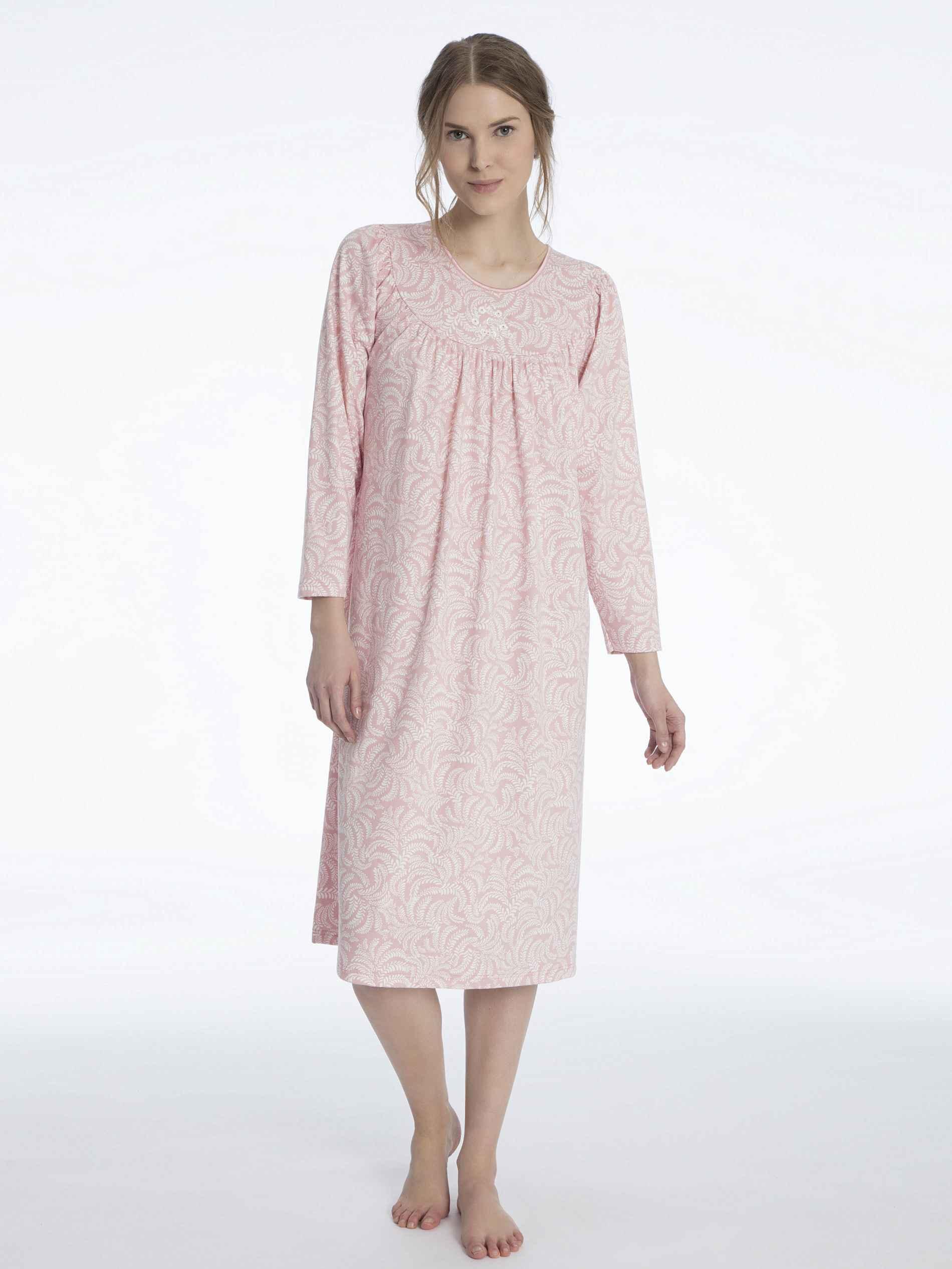 Damen CALIDA Soft Cotton Langarm-Nachtkleid Länge 110cm orange | 07613381037386