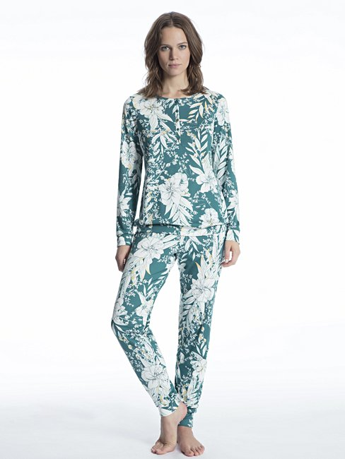 CALIDA Cosy Tropics Pyjama with button tab and cuff