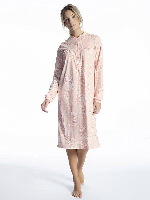 CALIDA Soft Cotton Langarm-Nightshirt mit Stehkragen, Länge 110cm
