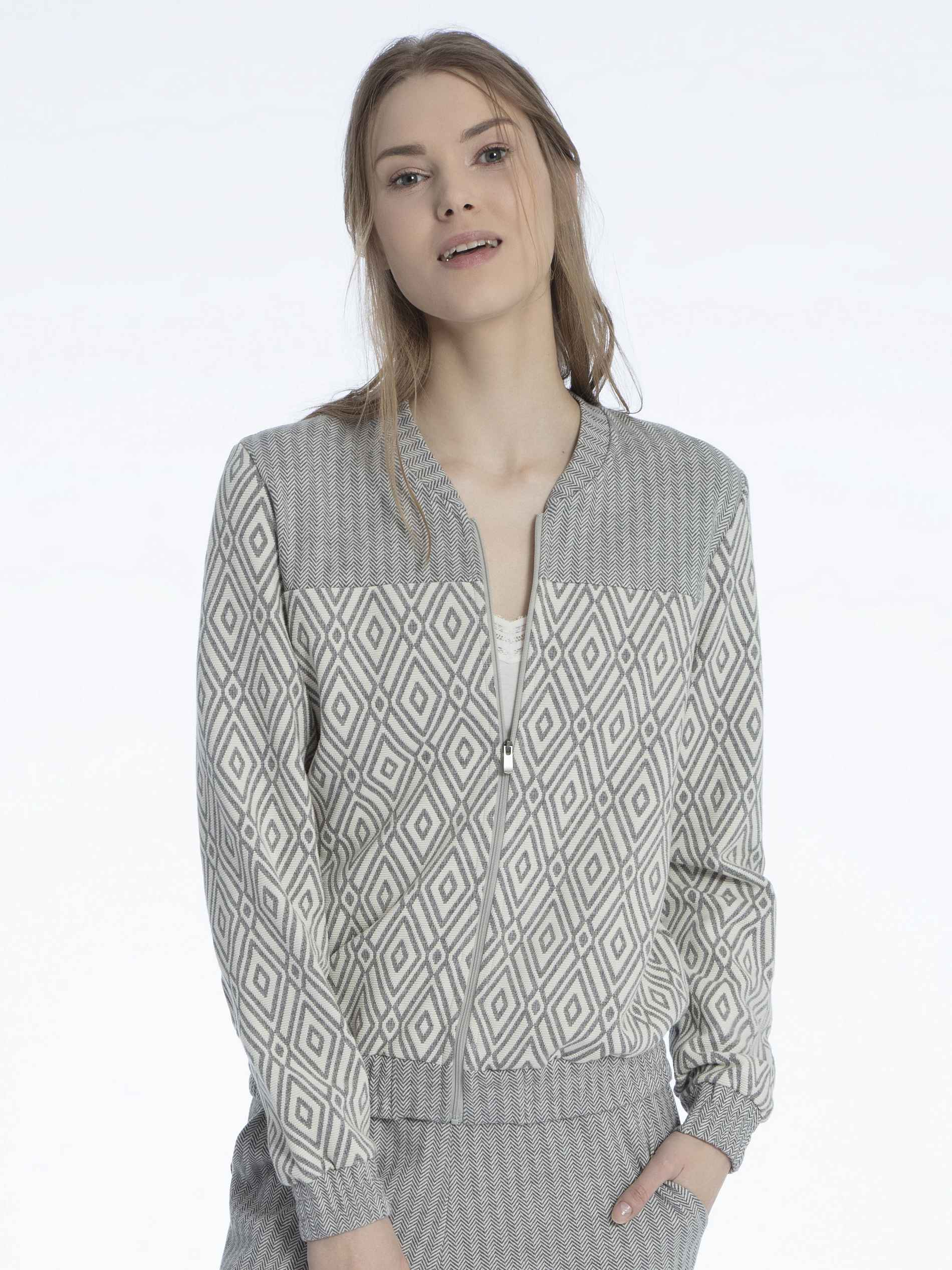 Damen CALIDA Favourites Trend 3 Jacke mit Reißverschluss, Jaquard grau | 07613381036778