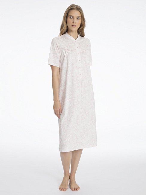 calida soft cotton kurzarm nachthemd mit knopfleiste rosa calida online shop. Black Bedroom Furniture Sets. Home Design Ideas
