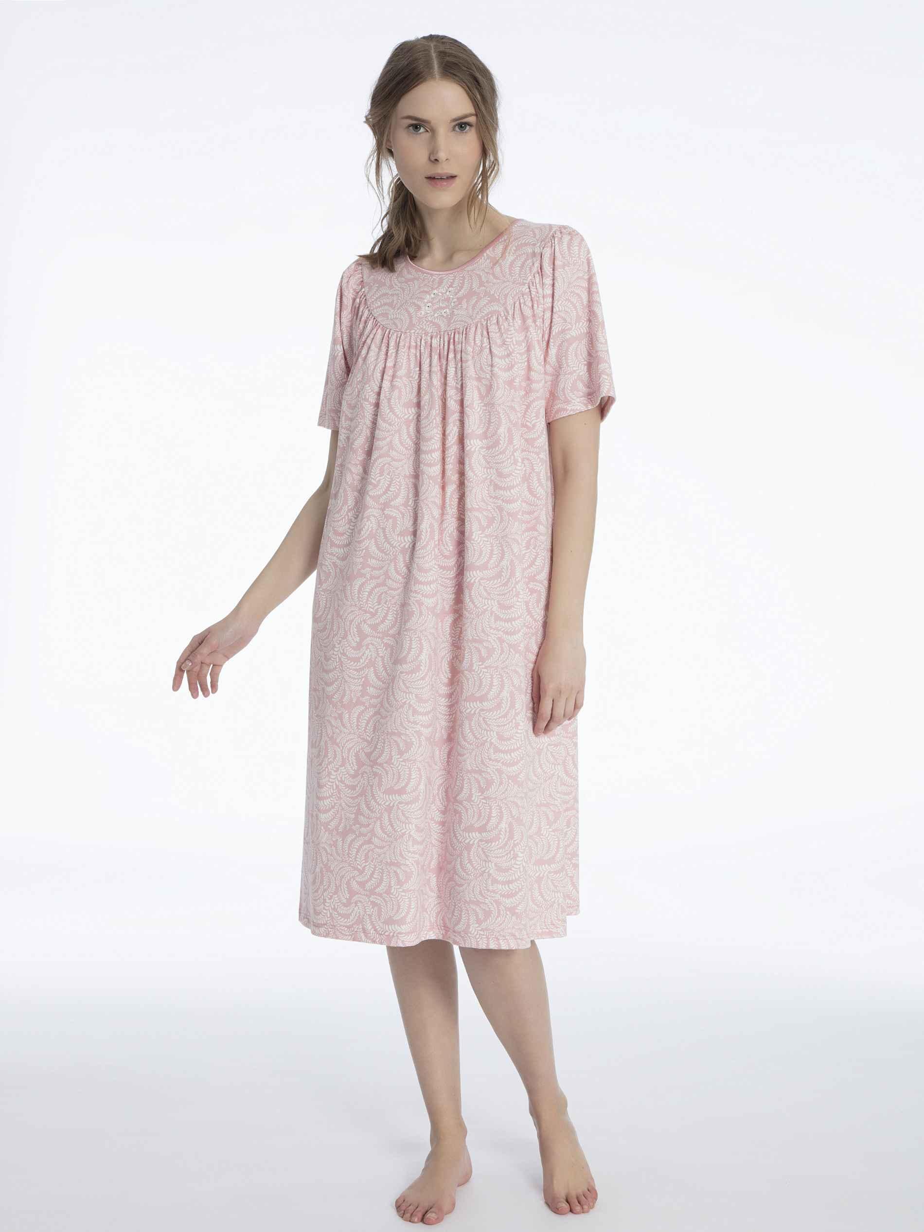 Damen CALIDA Soft Cotton Kurzarm-Nachtkleid Länge 110cm orange | 07613381038543