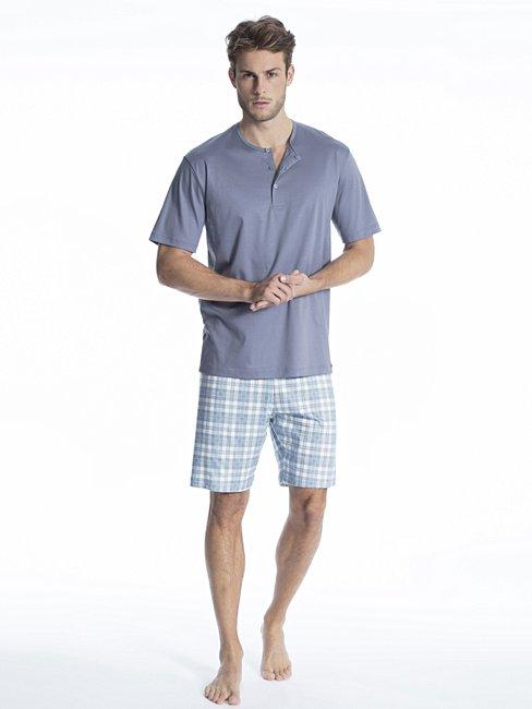 CALIDA Relax Selected Kurz-Pyjama mit Knopfleiste
