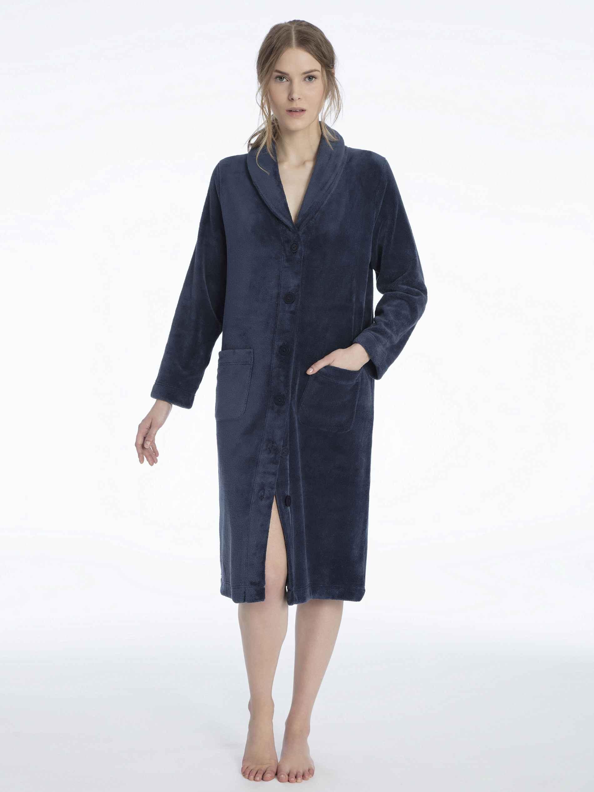Damen CALIDA Tilda Fleece-Kimono, geknöpft Länge 110cm blau   07613381051429