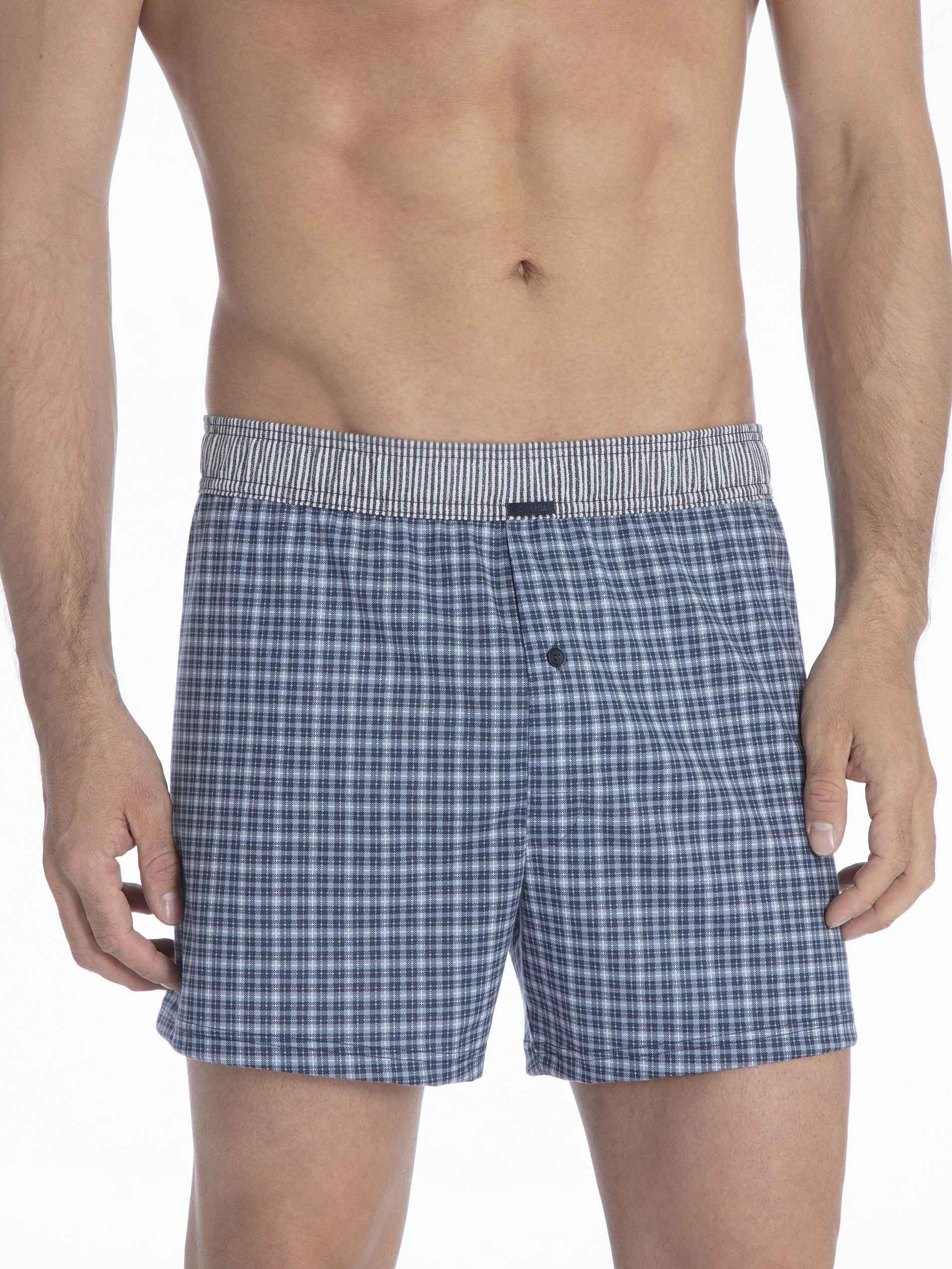 Herren CALIDA Urban Boxer Jersey-Boxershorts, überzogener Bund blau   07613381044865