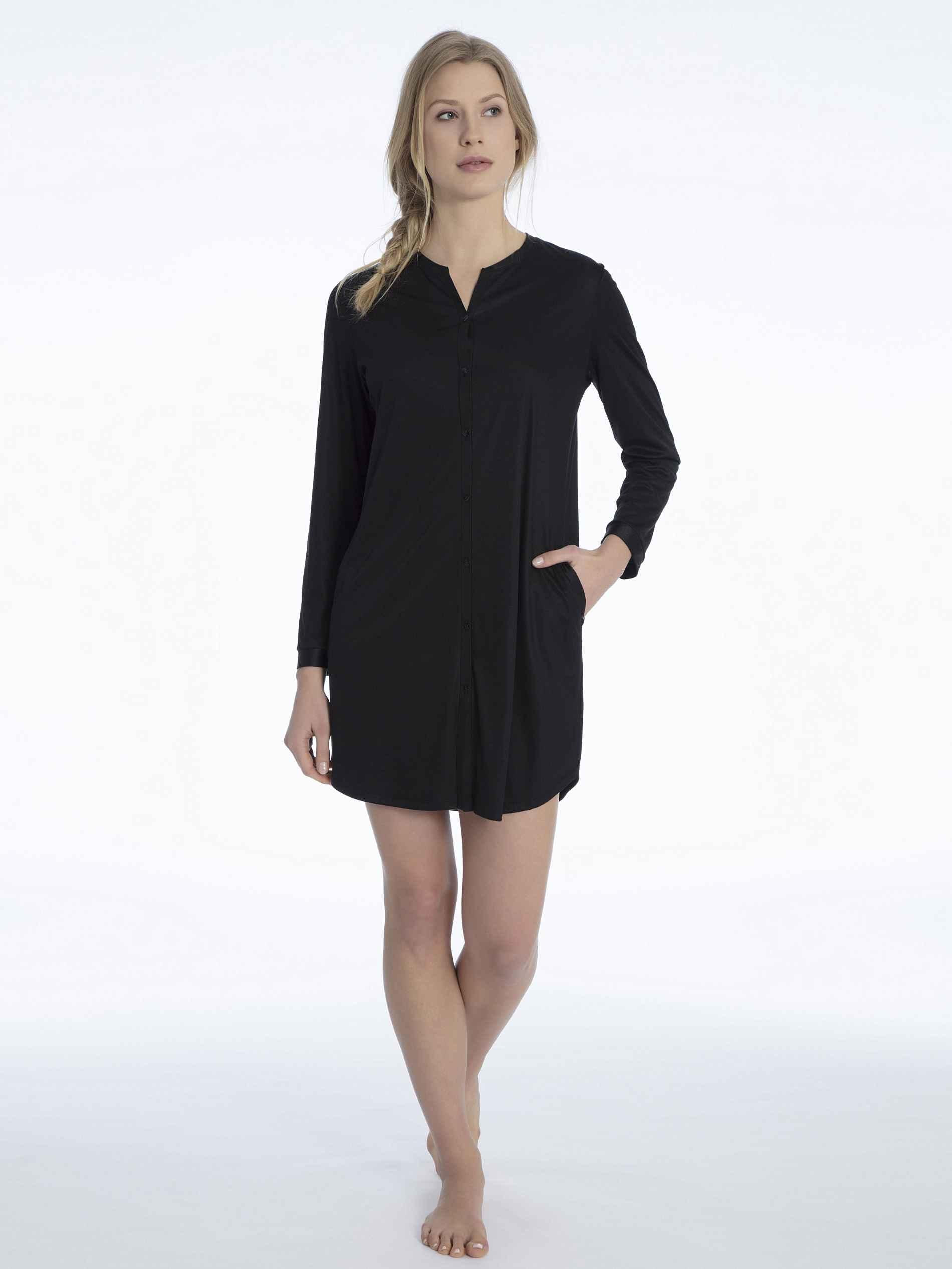 Damen CALIDA Isabella Seiden-Sleepshirt, geknöpft Länge 90cm schwarz   07613381057704