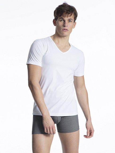 CALIDA Fresh Cotton Feinripp T-Shirt, V-Neck