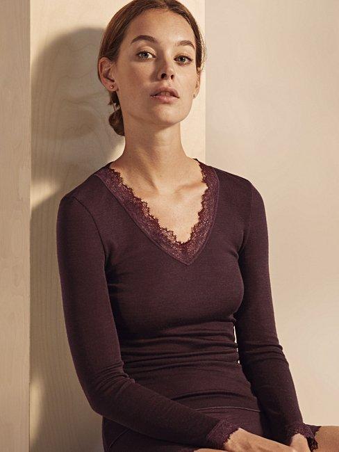 CALIDA Rosa Langarm-Shirt aus Schurwolle