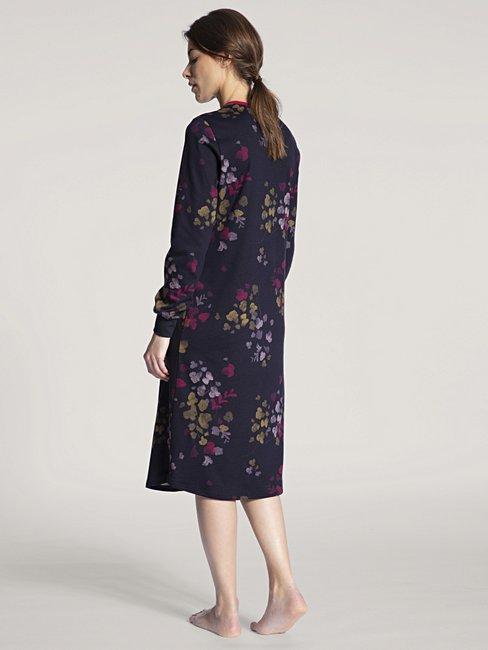 CALIDA Midnight Flowers Langarm-Nachthemd, 110cm lang