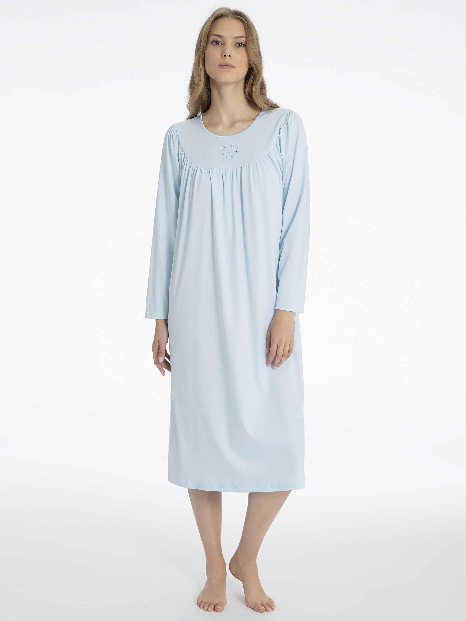 Damen CALIDA Soft Cotton Nightshirt langarm blau | 07610441086742