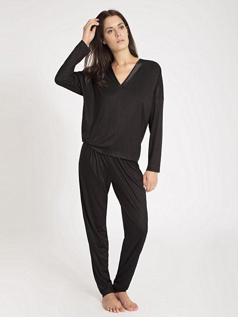 CALIDA Liz Pyjama lang mit Seiden-Einsatz