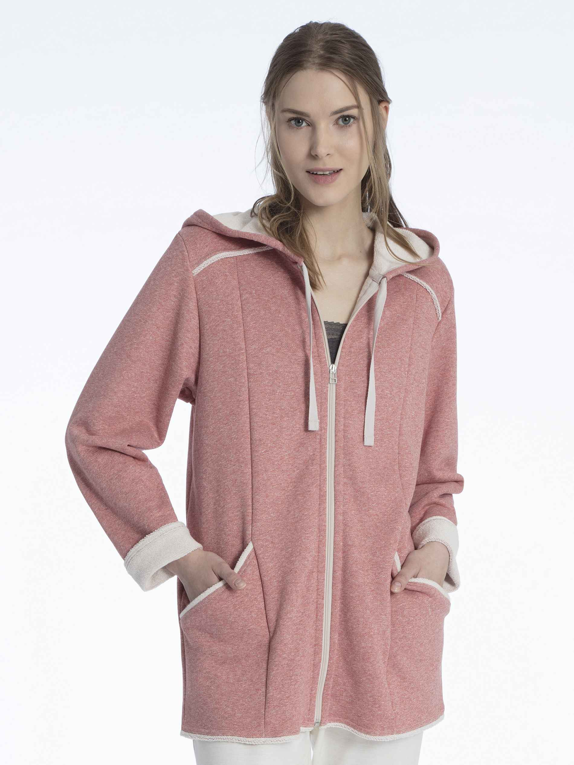 Damen CALIDA Favourites Trend 5 Fleece Kapuzen-Jacke mit Reißverschluss rot | 07613381036884
