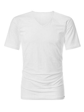 CALIDA Pure & Striped T-Shirt mit V-Ausschnitt